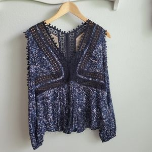 Rebecca Taylor blue print and lace cut-out top 4